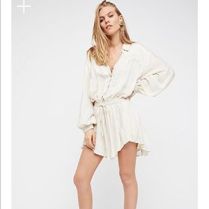 Free People tunic gauze shirt dress, ivory stripe